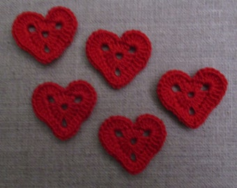 set of 5 small perforated red crochet hearts height 2.5 cm