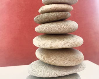 Rock stack Cairn / Stacking stones stacked stones set of 8 FREE SHIPPING  Beach pebbles. Zen, meditation, coastal decor Father's Day