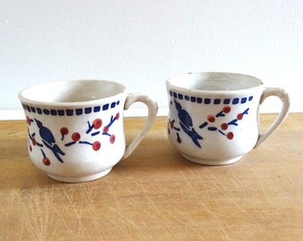 2 French Vintage DIGOIN SARREGUEMINES Coffee Cups  - Antique 1920s Earthenware Cups with Blue Birds Decor