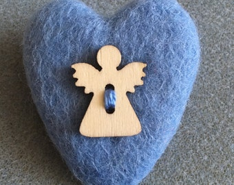 Guardian Angel Heart Brooch