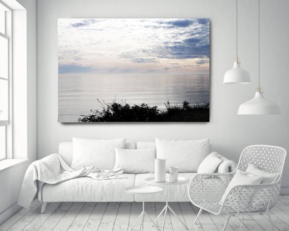 """Silver Ocean 5. Extra Large Water Canvas Art Prints up to 72"""", Seascape Blue Pink Water Photography Print by Irena Orlov"""