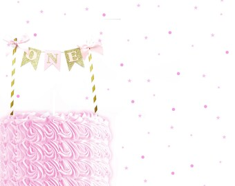 Pink & Gold ONE Cake Topper - First Birthday Cake Topper, 1st Birthday, Cake Bunting, Smash Cake Topper, 1st birthday cake topper