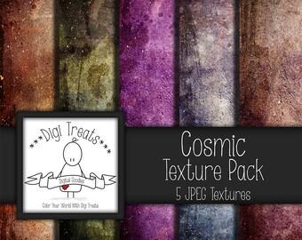 """5 Digital Textures, Cosmic Textures, JPEG, Photography Textures, Scrapbook Paper, Backgrounds, 12""""x12"""" *Instant Download*"""