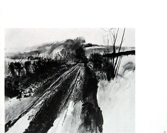 1966 Andrew Wyeth Print - Muddy Road by Adam Johnson's - Black and White Vintage Book Page