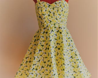 Sunshine Daisies Dress / Pinup Dress / Swing Dress / Rockabilly Dress