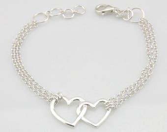 Double Heart Bracelet, Sterling Silver Heart Bracelet, Two Hearts Bracelet, Sterling Heart Bracelet, 925 Sterling Silver Bracelet, Valentine