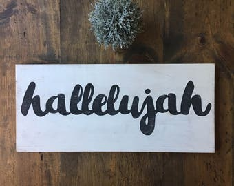 Hand Painted Wooden Sign Hallelujah