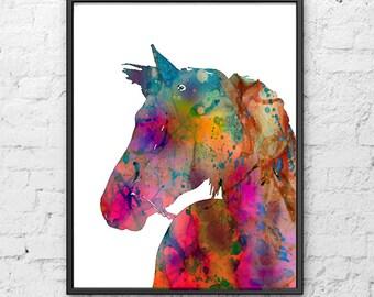 Horse Print, Watercolor Horse Art Print, Watercolor Animal Art, Painting Print Wall Art, Illustration Art - 301
