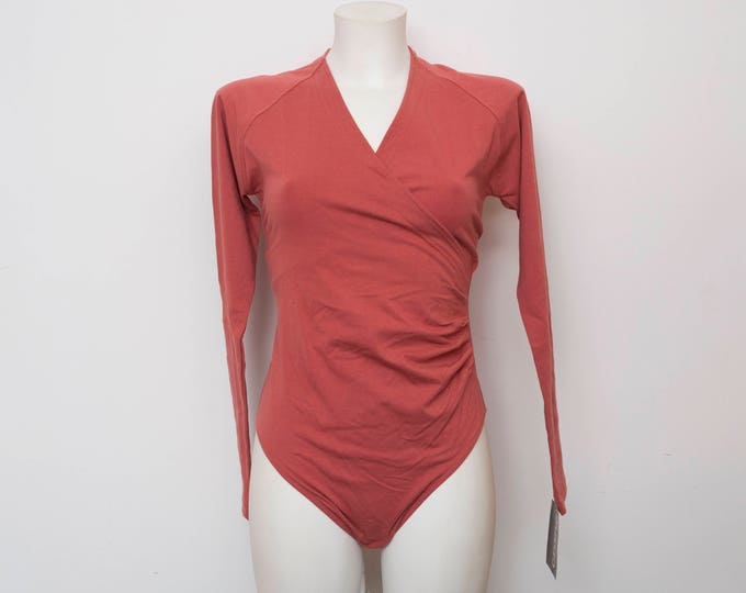 NOS vintage 90s long sleeved terracotta red bodysuit size S