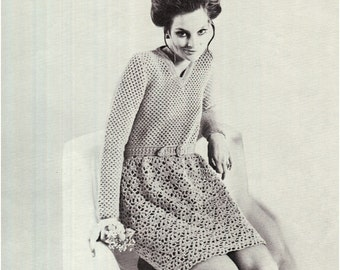 CROCHET DRESS PATTERN Vintage 70s Crochet Mod Dress Crochet Long Sleeve Dress Pattern Instant Download