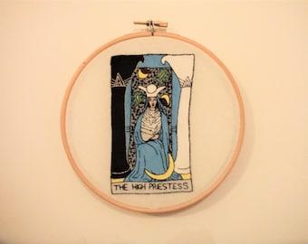 High Priestess Tarot Card Stitching