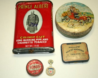 Lot of Vintage Tins , Tissot,Prince Albert, American Junior Red Cross,  Milk of Magnesia and Cigarette Loads tin