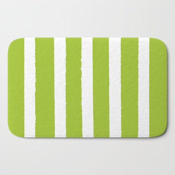 Bath Mat . Lime Bath Mat . Striped Bath Mat . Lime green Bath Rug . Lime Shower Mat .  Lime Striped Rug . Green and White Striped Rug