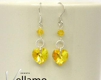 Swarovski heart sterling silver earrings with bright yellow heart Swarovski crystals, modern, fashion dainty earrings