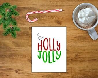 Holly Jolly Ornament Christmas Card   Printable Holiday Card   Printable Christmas Card