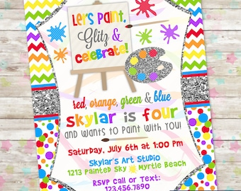 Art Party Invite, Girl Art Party, Art Party Invitation, Paint Party, Digital or Printed, Glitter Art, Glitter, Invites, DIY, Primary Rainbow