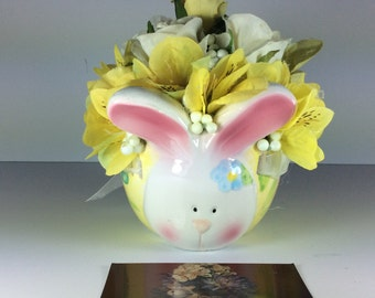 Happy Easter Bunny with Yellow and Cream Sophia Roses