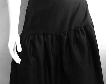 Vintage Women's 80's Leslie Fay, Skirt, Black, Ruffle, Polyester (M)