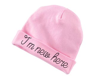 I'm New Here Funny Cotton Beanie For Infants