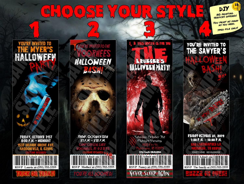 HALLOWEEN TICKET INVITATIONS Horror Movie Printable Invite.