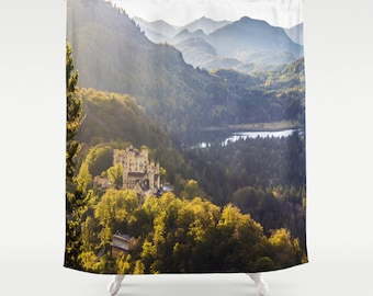 Forest Shower Curtain Castle Shower Curtain Photo Curtain Nature Curtain Alpsee Lake Curtain Trees Curtain Hohenschwangau Castle Curtain