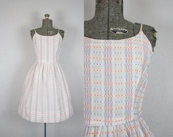 1950's Blue and Orange Dotted Cotton Sun Dress / Size Medium