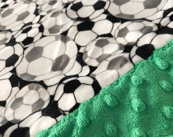 Travel Pillowcase - Soccer Print Minky with Green Dimple Dot Minky Border - great for a Toddler or Travel Pillow