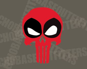 Punisher Deadpool skull vinyl cut decal sticker