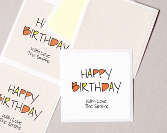 """HAPPY BIRTHDAY label stickers personalized modern minimalist square 20 medium 2"""" birthday party gift wrap seals gift tags"""
