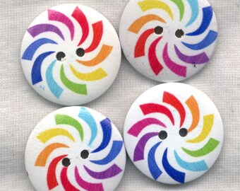 Rainbow Pinwheel Buttons Decorated Funky Wooden Buttons 30mm (1 1/4 inch) Set of 8/BT200A