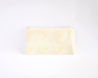 Small Zipper Pouch, Zipper Bag, Makeup Pouch, Cosmetic Pouch, Coin Purse, Bag Storage Organiser - Yellow Geometric Triangles