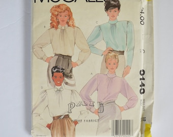1980s UNCUT Vintage McCall's Sewing Pattern 9143 Womens Long Sleeve Pullover Blouse Top, Bias Collar Variations, Soft Pleats Gathers Size 12