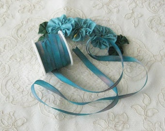 Hand Dyed Silk Ribbon (7mm) 1/4 inch - 3 yards - Ribbonwork, Embroidery, Sewing, Crafts