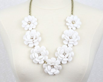 Beaded Rose Necklace White Flower Statement Necklace Big Flower Necklace Chunky Rose Necklace Big Rose Necklace
