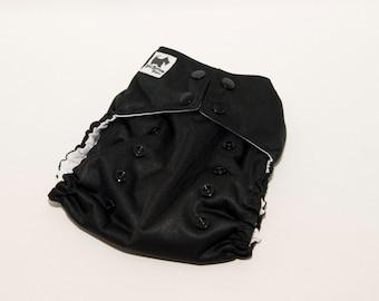 Black PUL Cloth Diaper - Cloth Diaper Cover - Cloth Pocket Diaper - AI2 Diaper - One Size Diaper