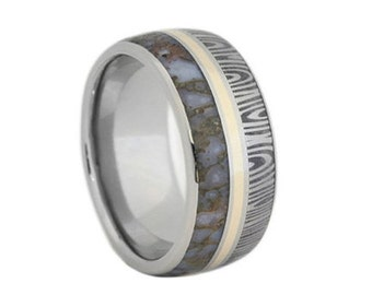 Dinosaur Bone Wedding Band, Damscus Ring With 14k Yellow Gold, Unique Stainless Steel Ring