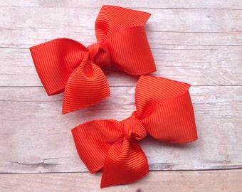 Orange pigtail bows, orange bows, toddler hair bows, pigtail bows, baby bows, girls hair bows, baby girl bows, hair bows, small bows, bows