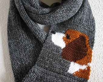 Beagle Knit Infinity Scarf. Charcoal gray knitted cowl scarf with a beagle dog. Long knit circle scarves. Beagle gift