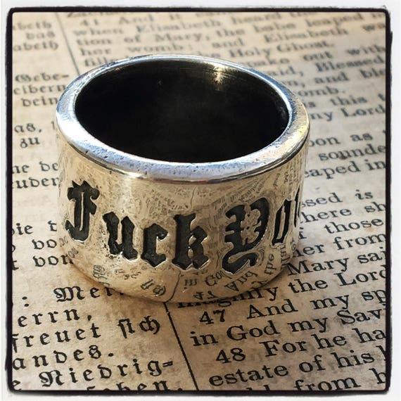 "Etherial Jewelry - Rock Chic Talisman Luxury Biker Custom Handmade Artisan Pure Sterling Silver .925 Designer ""Fuck You"" Band Stack Ring"