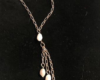 vintage sterling chain necklace, baroque pearls