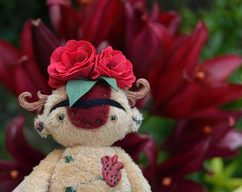 Frida Kahlo art doll, Mexican Artist painter handmade doll fantasy plush artdoll