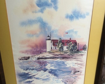 "Vintage print of ""Presque Isle Light"" Lake Huron Lighthouse"