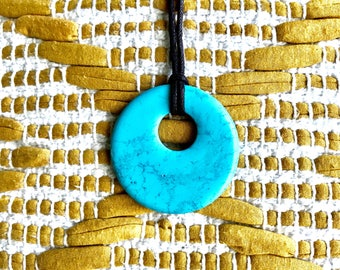 Turquoise Donut Pendant Necklace
