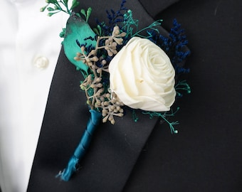 Sea Glass Sola Flower Boutonniere// Wood Flower Boutonierre