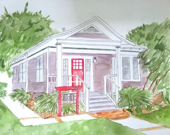 Custom Watercolor House Portrait | First Home Watercolor Art | Our First House Gift  | Original Watercolor House Painting