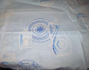 Vintage Robin's Egg Blue Woven Cotton Fabric Flocked Kitchen Pitcher Print 1.6 y