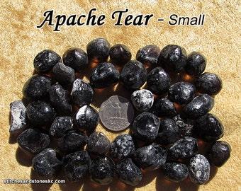 Apache Tear (small/medium) raw rough stone for crystal healing (Obsidian Apache Tears)