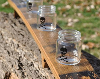 Whiskey Flight made from a Whiskey Barrel Stave, 5 Mini Mason Jar Shot Glasses, Arched, Skull and Crossbones, Made in USA, Free Shipping