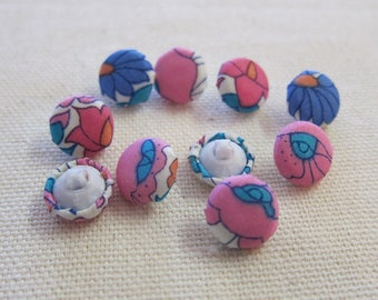 4 Poppy 11 mm liberty fabric covered buttons