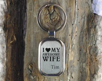 personalized  Stainless steel key chain , Bridesmaid Gift , Custom Wedding Gift, Name Initials key chain, Handmade key chain